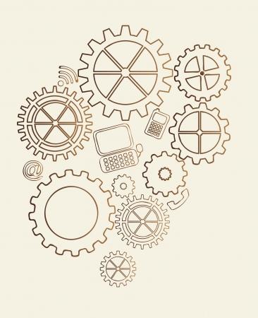 gears vintage over beige background. vector illustration Vector