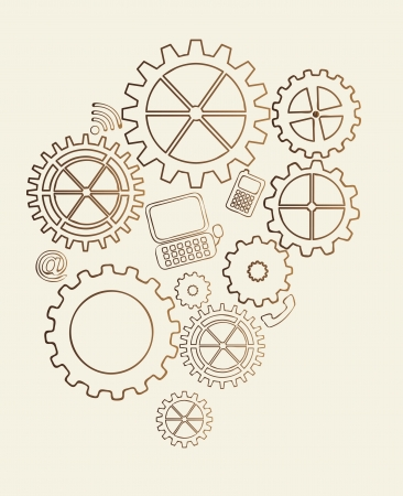 clock gears: gears vintage over beige background. vector illustration Illustration
