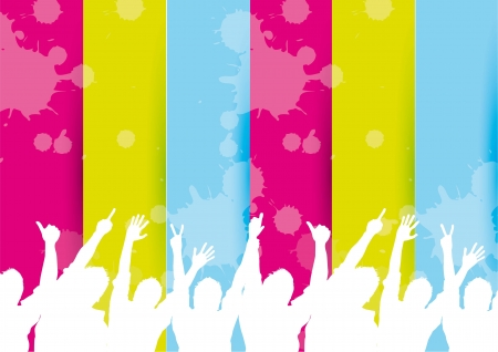 silhouette men over colorful background. vector illustration Stock Vector - 14374909