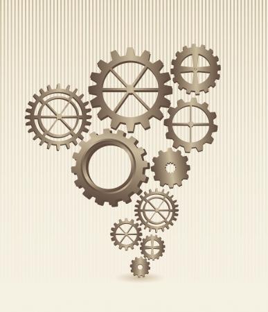old gears over beige background. vector illustration Vector