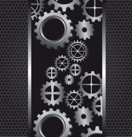gears with metallic frames, background. vector illustration Vector