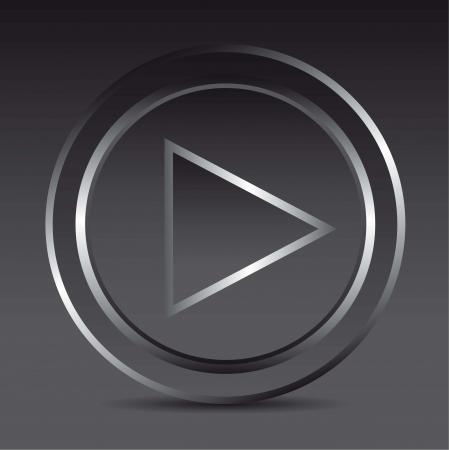 triangle button: jugar el bot�n de reproducci�n con la sombra, el vidrio. ilustraci�n vectorial