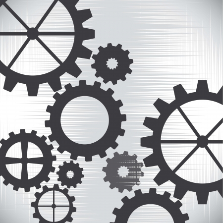 gray gears over silver background. vector illustration Vector