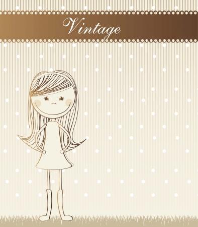 cute girl over grass, vintage. vector illustration Vector