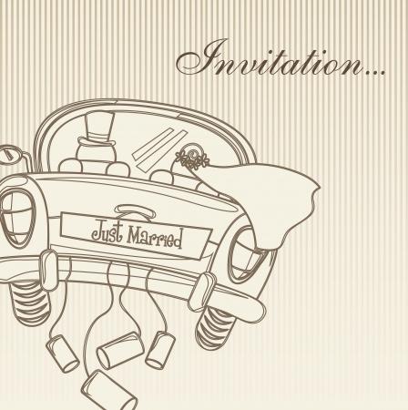 la invitación se casó con la tarjeta, el estilo vintage. ilustración vectorial