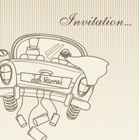 just married: married invitation card, vintage style. vector illustration Illustration