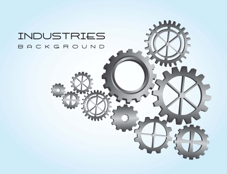 silver gears over blue background. vector illustration Vector