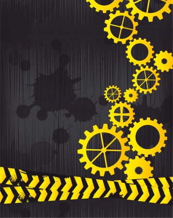 caution sign: constrution background with gears and tapes. vector illustration Illustration