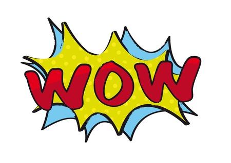 wow: wow arte pop sobre fondo blanco. ilustraci�n vectorial