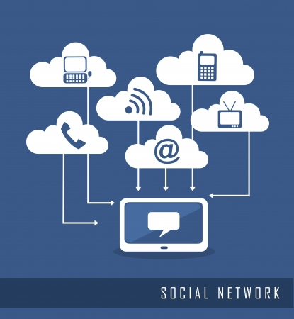 telecomunicaci�n: los iconos de la comunicaci�n, la red social. ilustraci�n vectorial