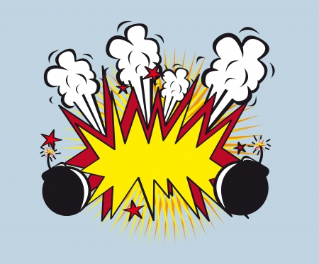 cartoon bomb: explosion style with bomb, pop art. vector illustration