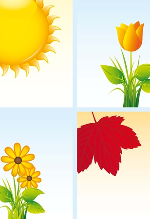 beautiful flowers and sun background. vector illustration Vector
