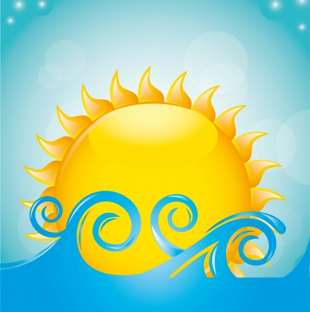 smiling sun: sun with sea over sky background. vector illustration