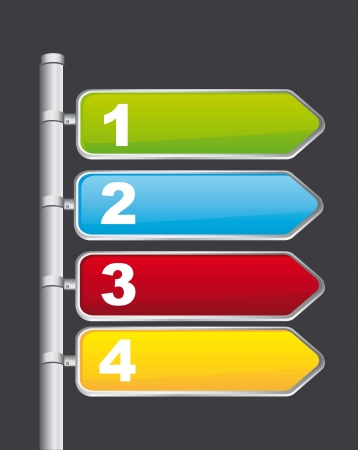 colorful road sign over gray background. vector illustration