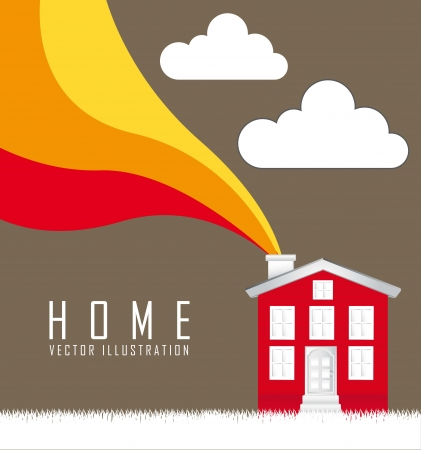 home over grass with wave over brown background. vector Vector