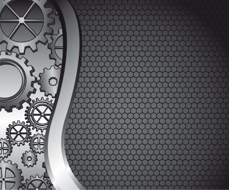 black background with grille texture with gears. vector illustration Vector