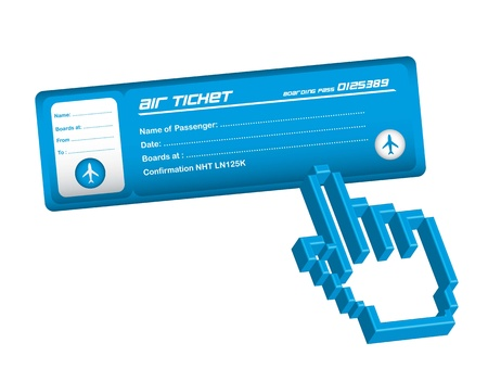 business class travel: air ticket with hand cursor over white background. vector