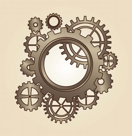 engranajes viejos sobre fondo marrón. ilustración vectorial