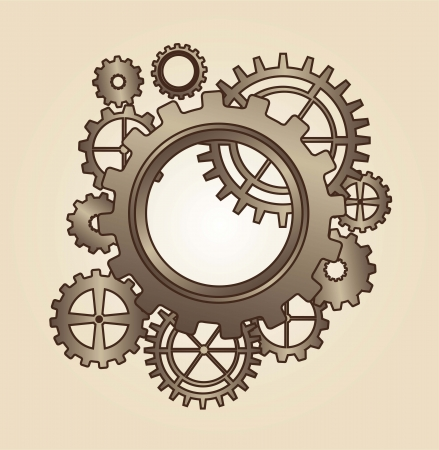 old gears over brown background. vector illustration