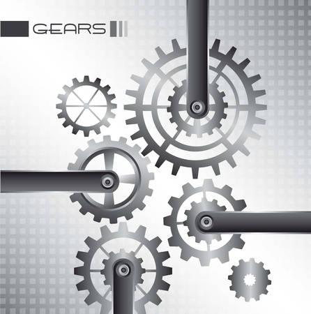 gears over silver background. vector illustration Vector