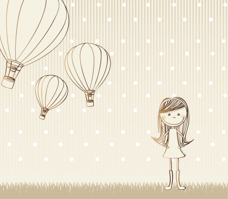 balloon woman: cute girl with hot air balloons, vintage.  vector illustration Illustration