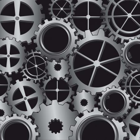 silver gears over black background. vector illustration Vector