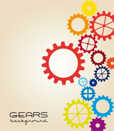 clock gears: colorful gears over beige background. vector illustration