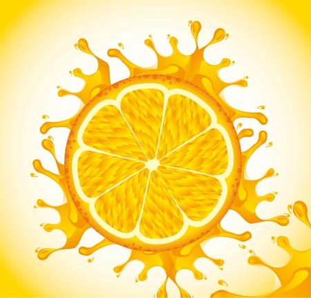 orange fruit with splash over yellow background. vector Vector