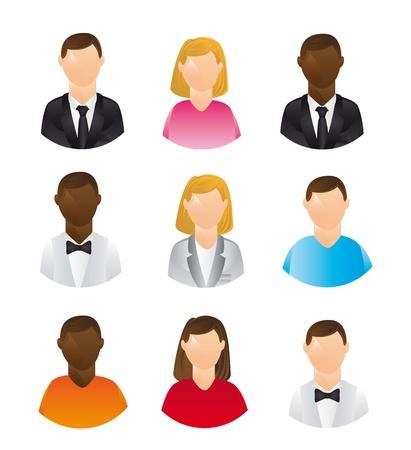 los iconos de las personas aisladas sobre fondo blanco. ilustración vectorial