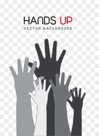 charity collection: gray hands up over square background. vector illustration Illustration