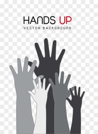 verkiezingen: grijs handen omhoog over vierkante achtergrond. vectorillustratie