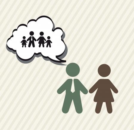 planificacion familiar: planificaci�n de la familia con signos, de la vendimia. ilustraci�n vectorial Vectores