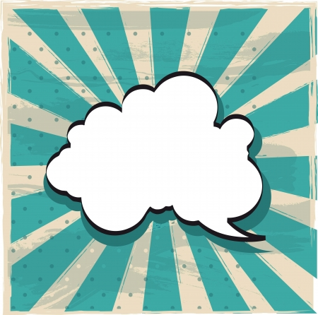 thought bubble: cloud of thought over vintage background. vector illustration