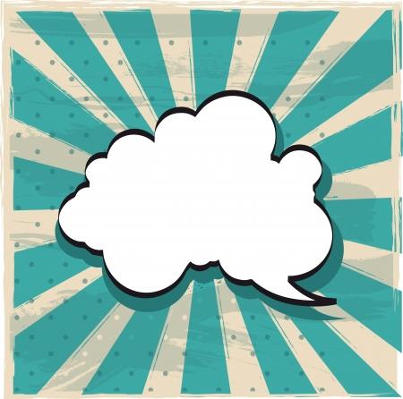 la nube de pensamiento sobre el fondo de la vendimia. ilustración vectorial