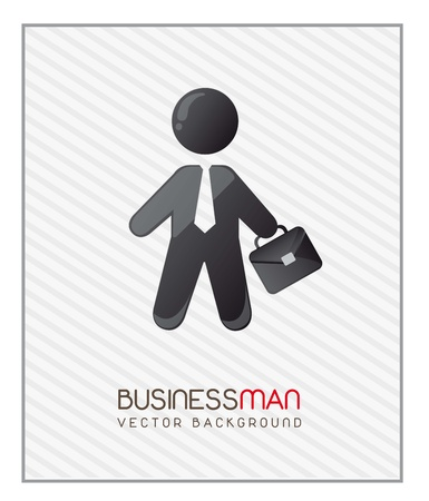 businessman with suit case over stripes background. vector Stock Vector - 14452510