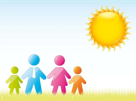 familia sobre lindo paisaje. ilustración vectorial