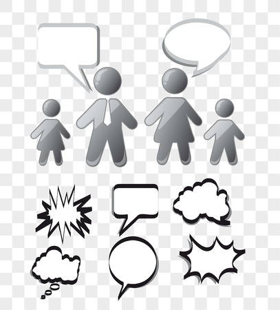 gray comic with people icons and thought bubbles. vector illustation Stock Vector - 14452528