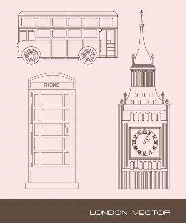 toren klok met telefooncel en bus. vectorillustratie