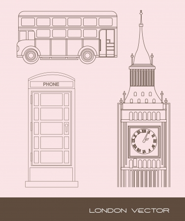 telephone booth: tower clock with telephone booth and bus. vector illustration