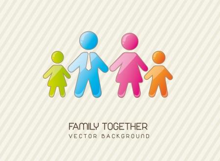 family together over vintage background. vector illustration Vector