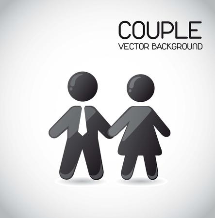シンボル: 灰色の背景上のカップルのアイコン。ベクトル イラスト  イラスト・ベクター素材