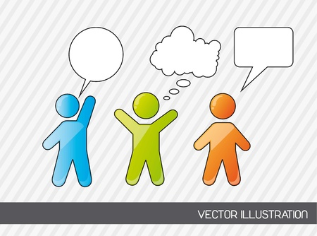 mobile marketing: men sign with thought bubbles. vector illustration