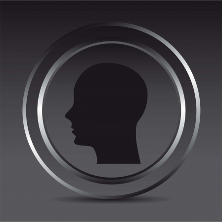 Silhouette of man in metal circles. vector illustration Vector