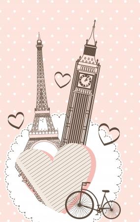 Tour Eiffel et tour de l'horloge sur fond rose. vecteur