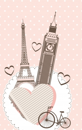 big ben tower: tower eiffel and tower clock over pink background. vector Illustration
