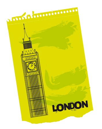 clock tower: Clock Tower of London on green paper. vector illustration