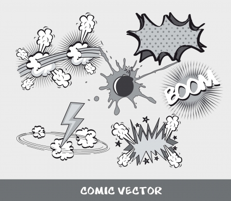 slurp: set comic book, black and white.  vector illustration