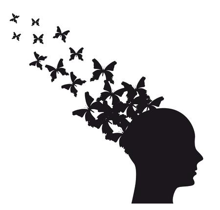 partes del cuerpo humano: Silueta del hombre con mariposas volando. ilustraci�n vectorial