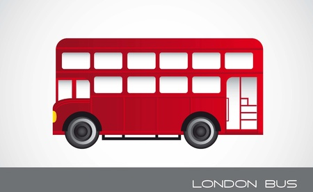 bus anglais: rouge london bus sur fond gris. illustration vectorielle