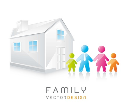 cute family and house with shadow. vector illustration